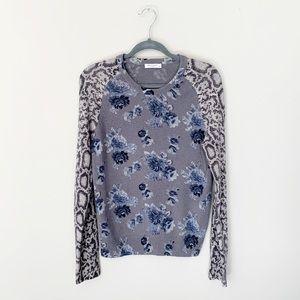 Equipment Femme Floral Snakeskin Cashmere Sweater